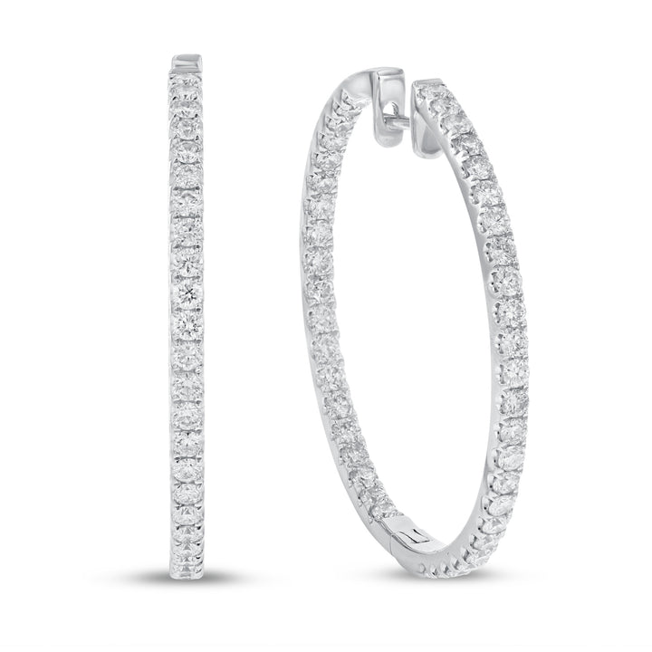 18K White Gold Hoop Earrings, 2.32 Carats