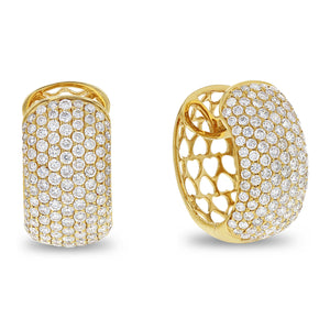 18K Yellow Gold Diamond Earrings, 3.11 Carats