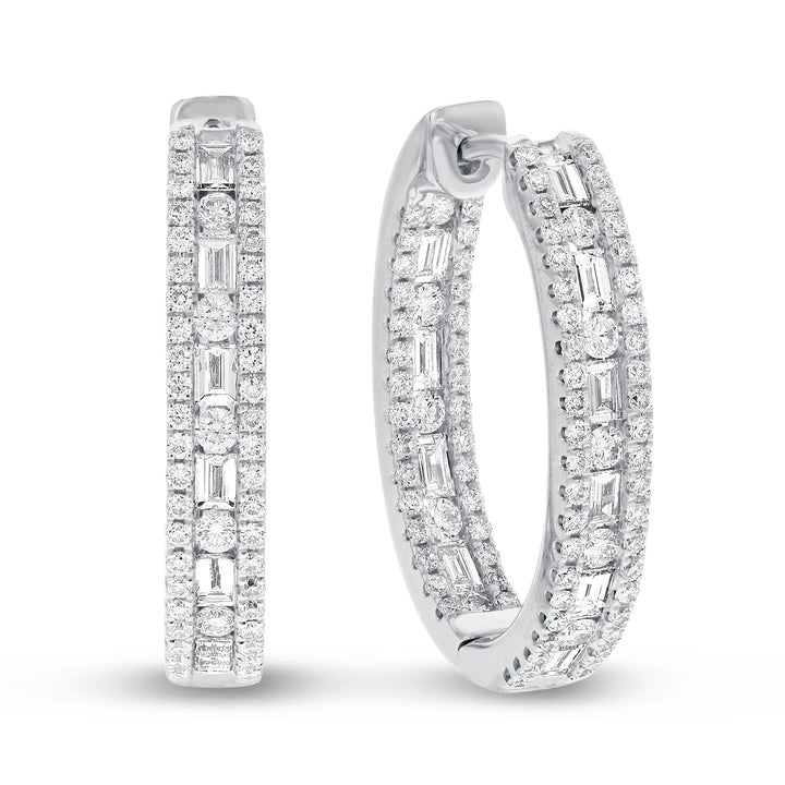 18K White Gold Hoop Earrings, 2.45 Carats