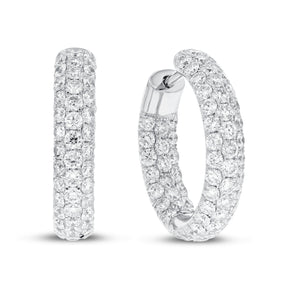 18K White Gold Hoop Earrings, 3.65 Carats