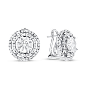Double Halo Diamond Lever Back Earrings - R&R Jewelers