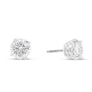 14K White Gold Round Diamond Stud Earrings, 2.04 Carats