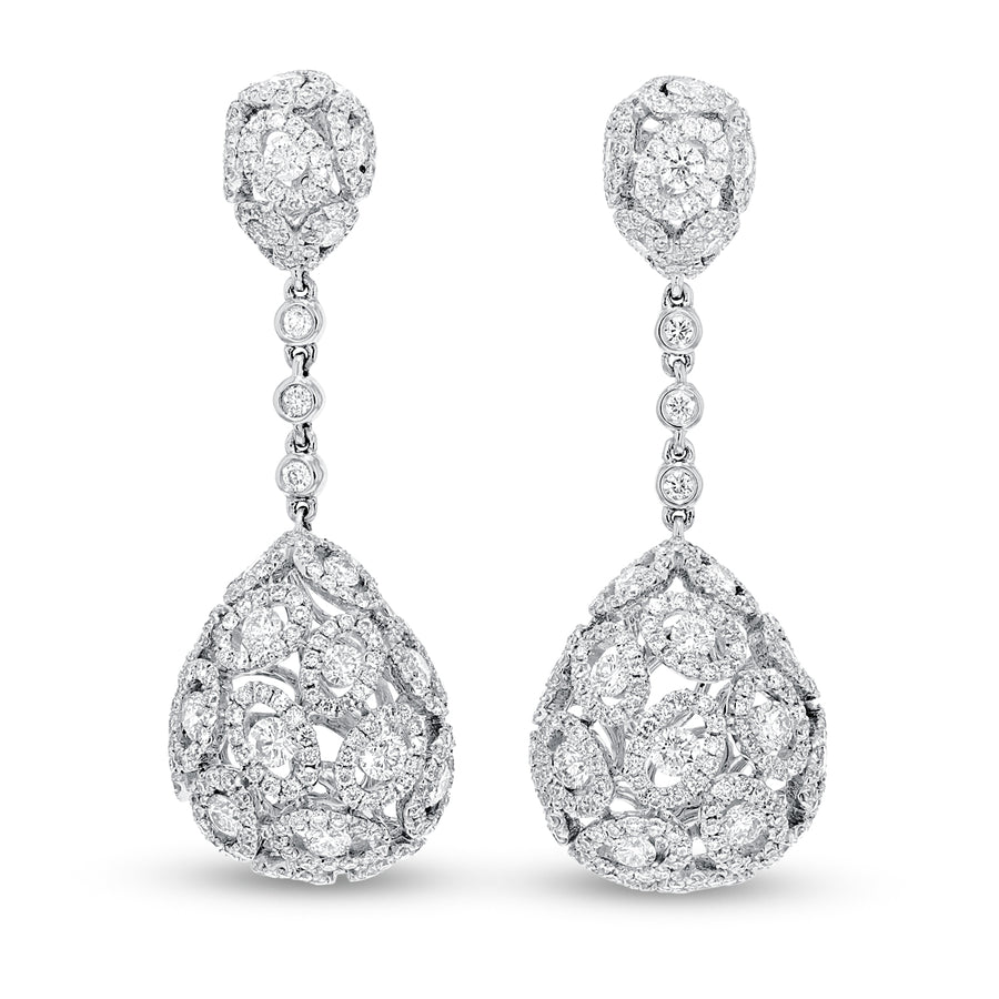 18K White Gold Diamond Earrings, 4.07 Carats - R&R Jewelers