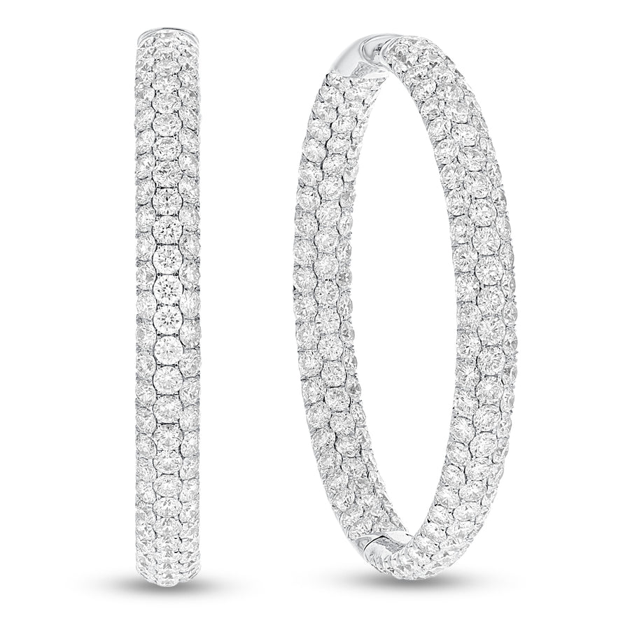 18K White Gold Hoop Earrings, 12.46 Carats