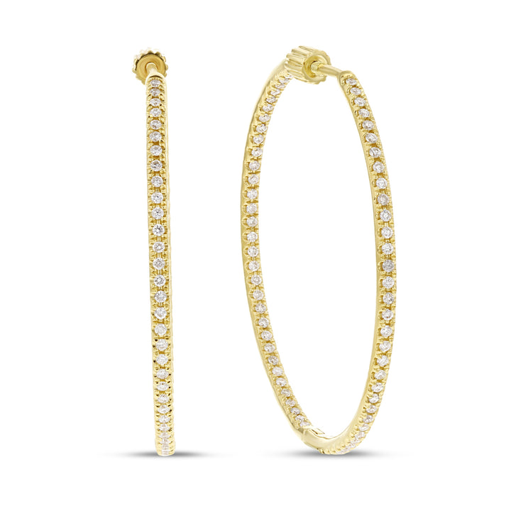 14K Yellow Gold Hoop Earrings, 1.35 Carats