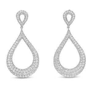 Diamond Pavé Tear Drop Earrings - R&R Jewelers