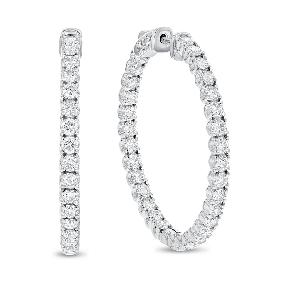 18K White Gold Hoop Earrings, 4.17 Carats