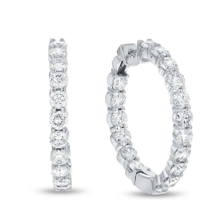 14K White Gold Hoop Earrings, 5.81 Carats