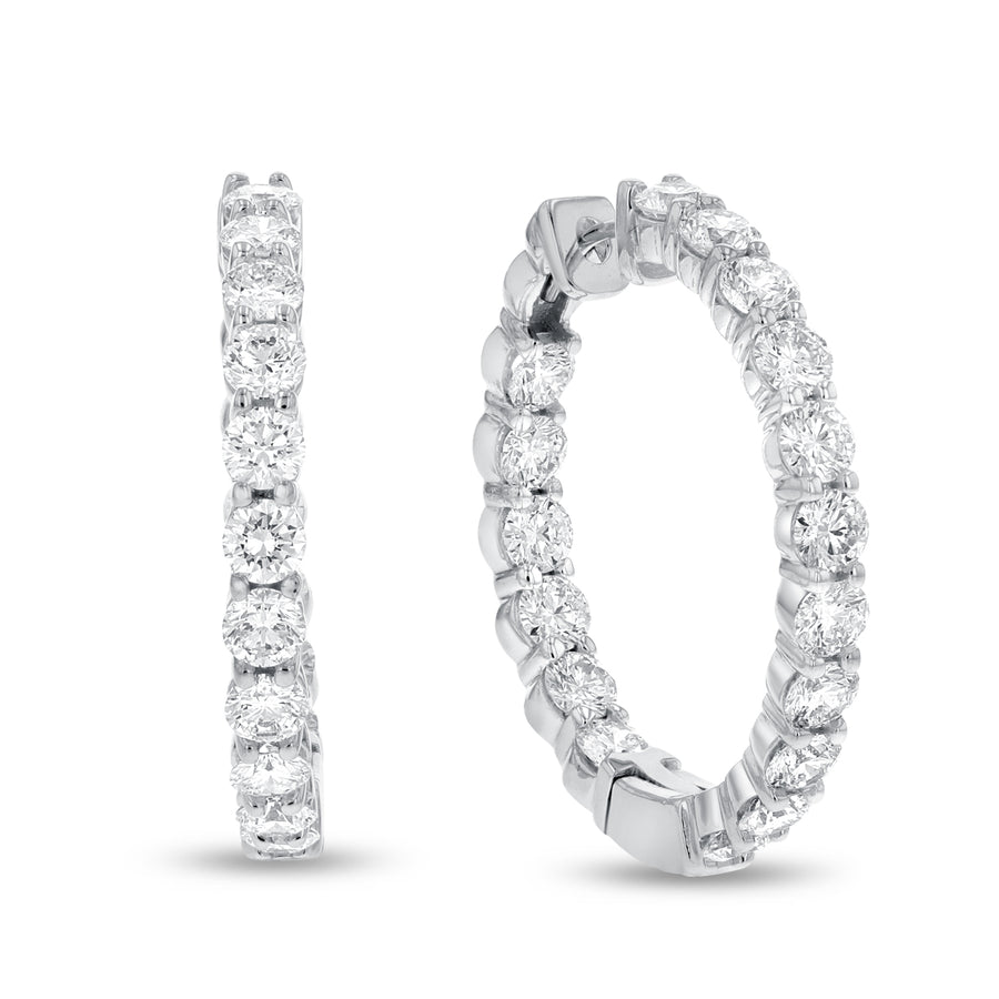 14K White Gold Hoop Earrings, 5.81 Carats - R&R Jewelers