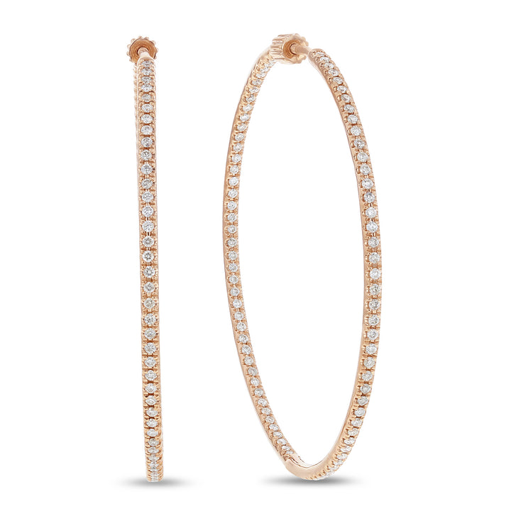 14K Rose Gold Hoop Earrings, 1.74 Carats