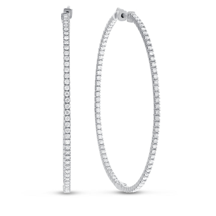 14K White Gold Hoop Earrings, 2.18 Carats