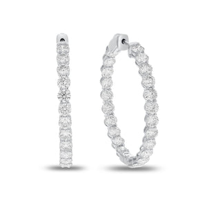 Shared Prong Diamond Hoop Earrings - R&R Jewelers