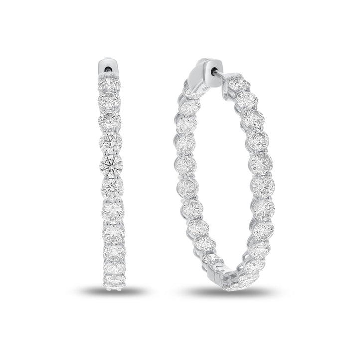 18K White Gold Hoop Earrings, 6.61 Carats
