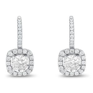18K White Gold Diamond Earrings, 3.06 Carats - R&R Jewelers
