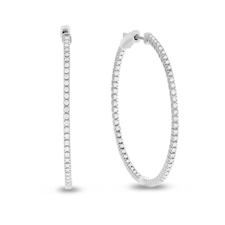 14K White Gold Hoop Earrings, 0.87 Carats
