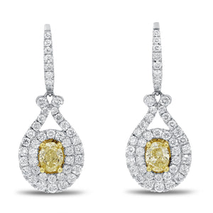 18K Two Tone Gold Diamond and Diamond Earrings, 2.56 Carats