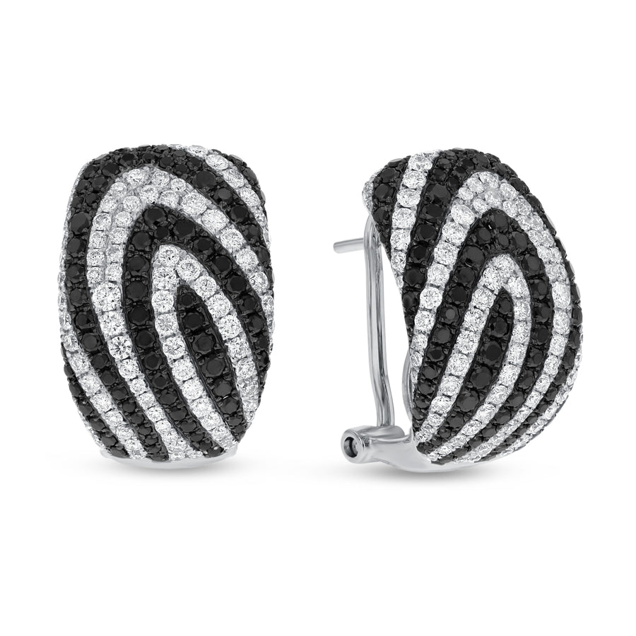 Black and White Diamond Swirl Lever Back Earrings - R&R Jewelers