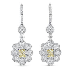 18K Two Tone Gold Fancy Yellow Diamond Earrings, 3.94 Carats - R&R Jewelers