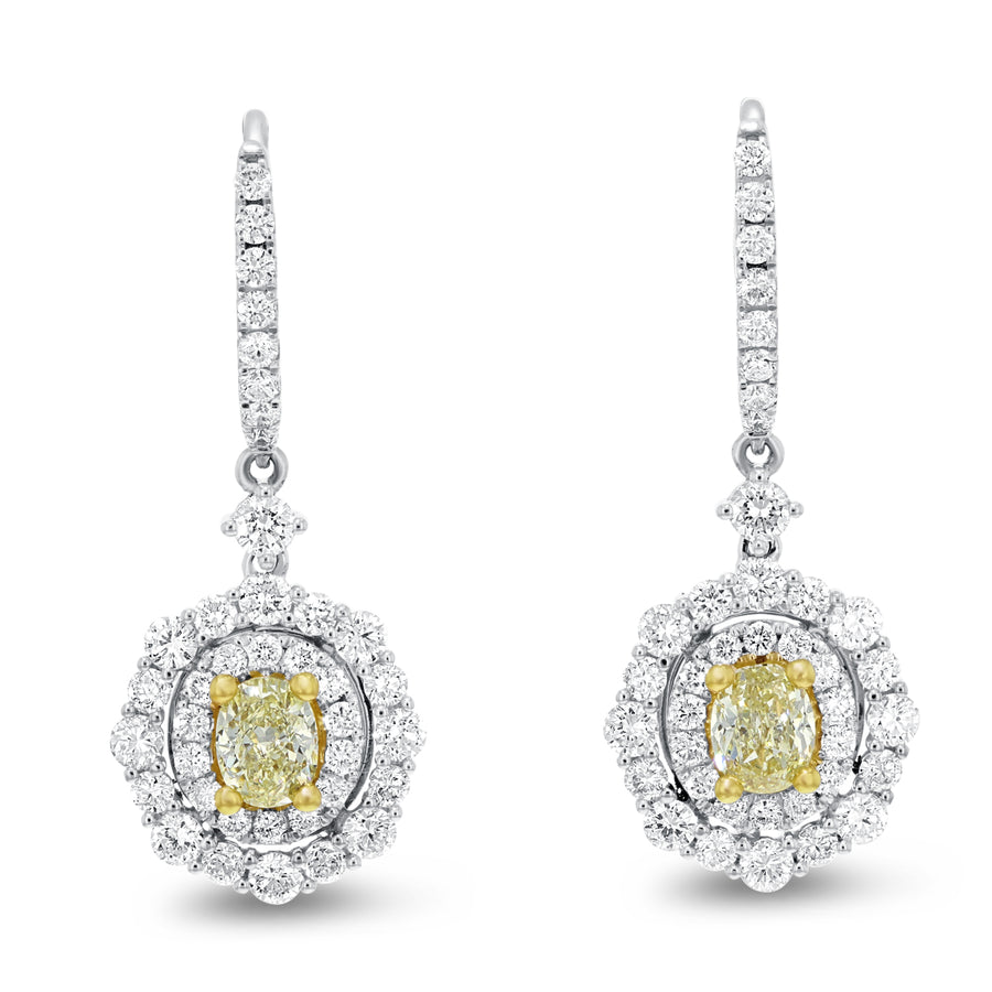 18K Two Tone Gold Diamond and Diamond Earrings, 2.52 Carats - R&R Jewelers