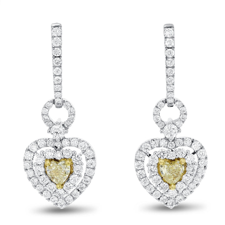 18K Two Tone Gold Diamond Earrings, 2.24 Carats