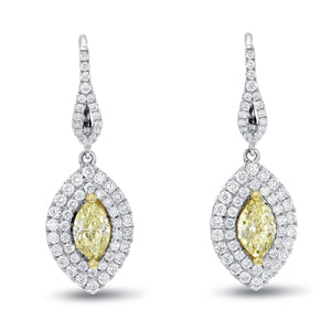 Yellow Diamond Pear Shape Drop Earrings - R&R Jewelers