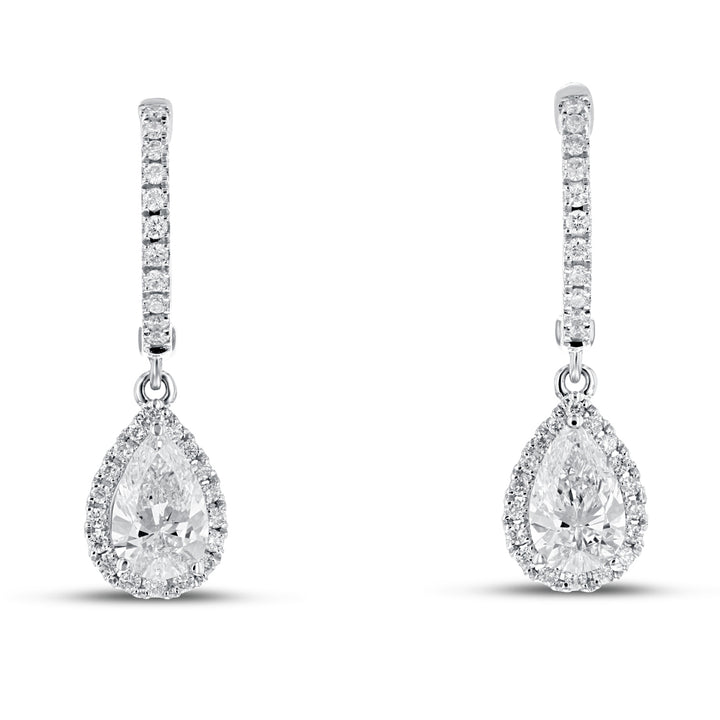 Pear Shape Diamond Drop Earrings - R&R Jewelers
