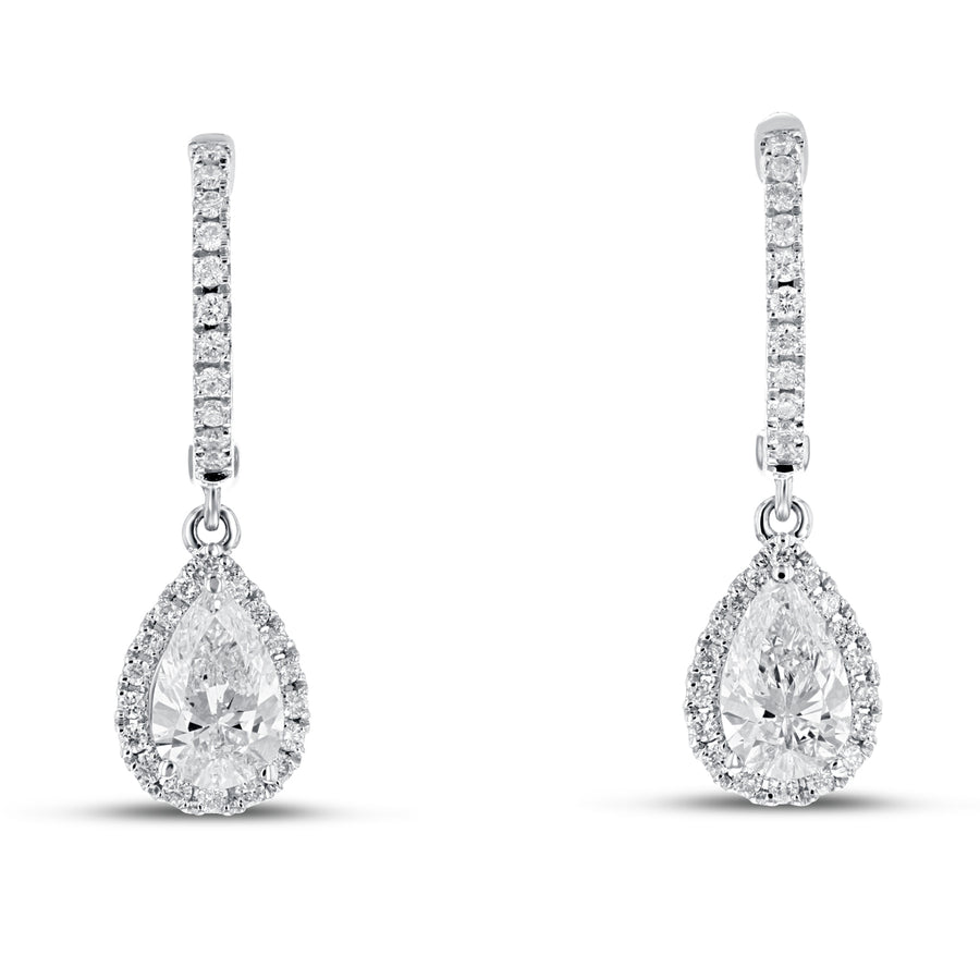 18K White Gold Diamond Earrings, 1.27 Carats - R&R Jewelers