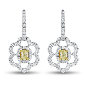 Yellow Diamond Floral Drop earrings - R&R Jewelers