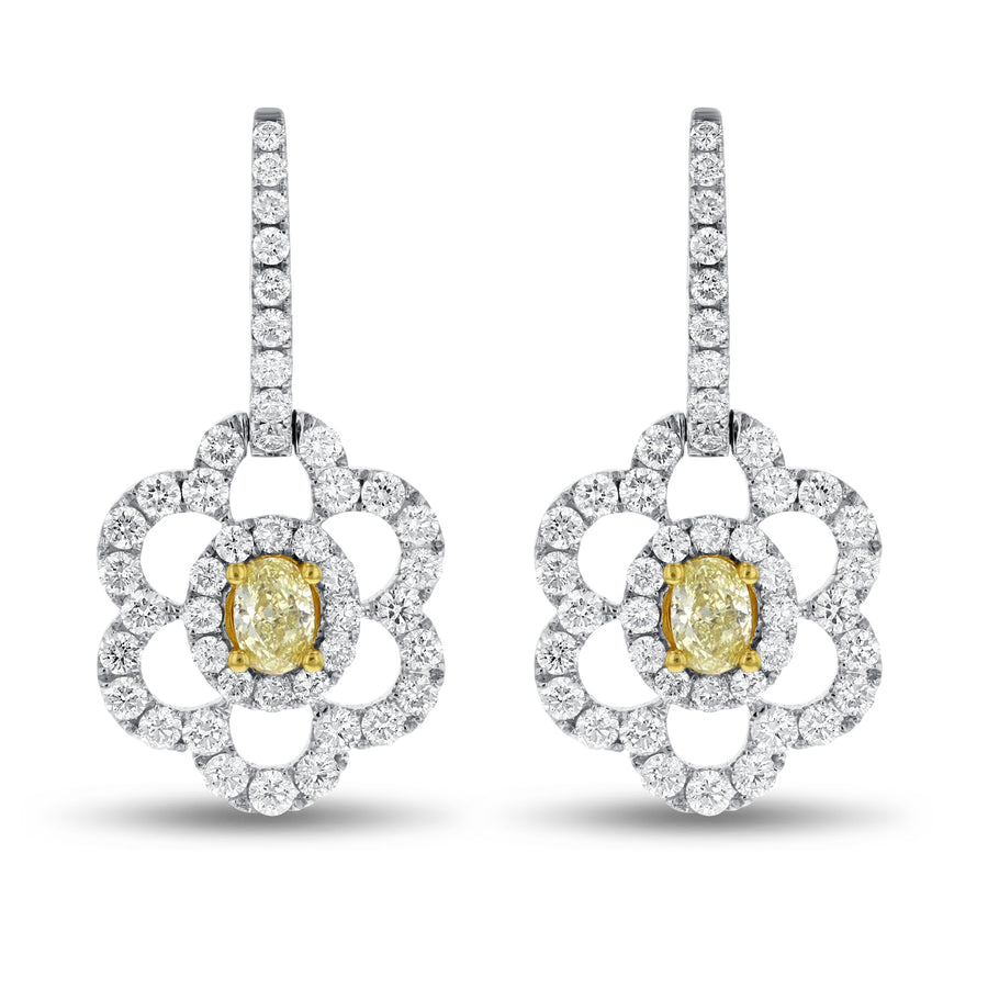 18K Two Tone Gold Fancy Yellow Diamond Earrings, 2.91 Carats - R&R Jewelers