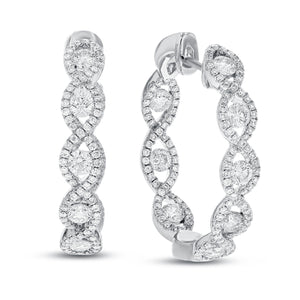 18K White Gold Hoop Earrings, 2.16 Carats