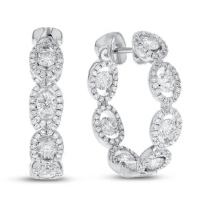 18K White Gold Hoop Earrings, 1.97 Carats