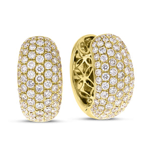 18K Yellow Gold Diamond Earrings, 6.83 Carats