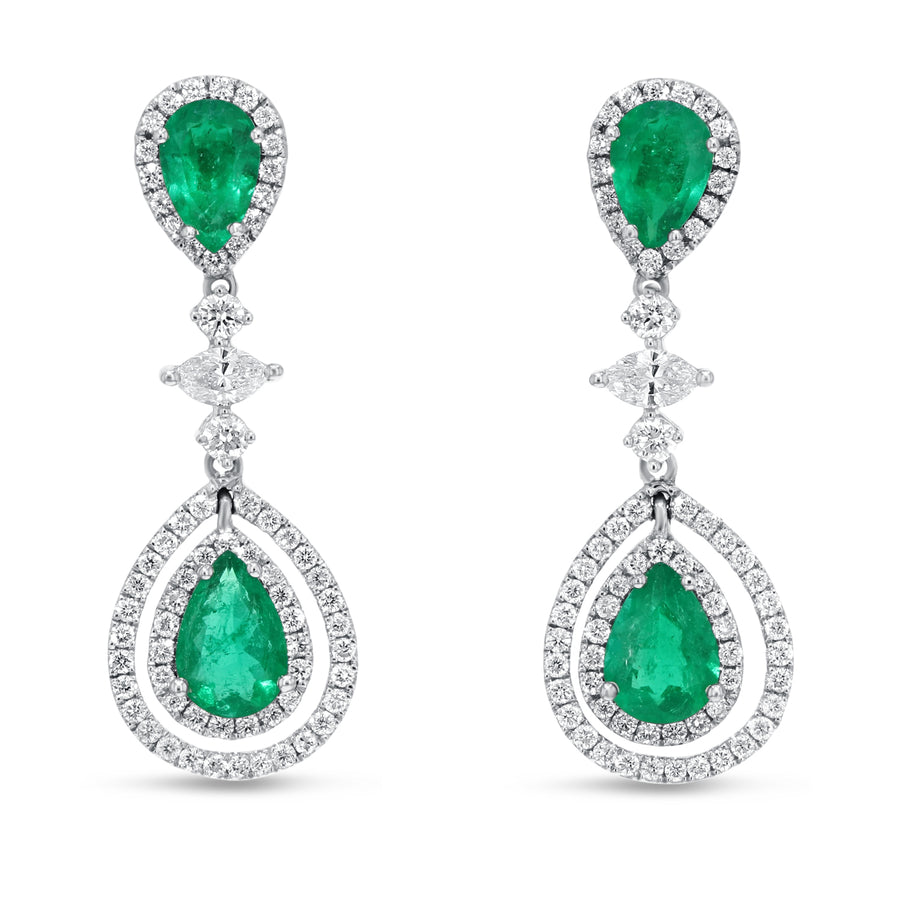 18K White Gold Diamond and Gem Earrings, 2.98 Carats