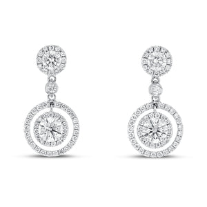 18K White Gold Diamond Earrings, 2.04 Carats - R&R Jewelers