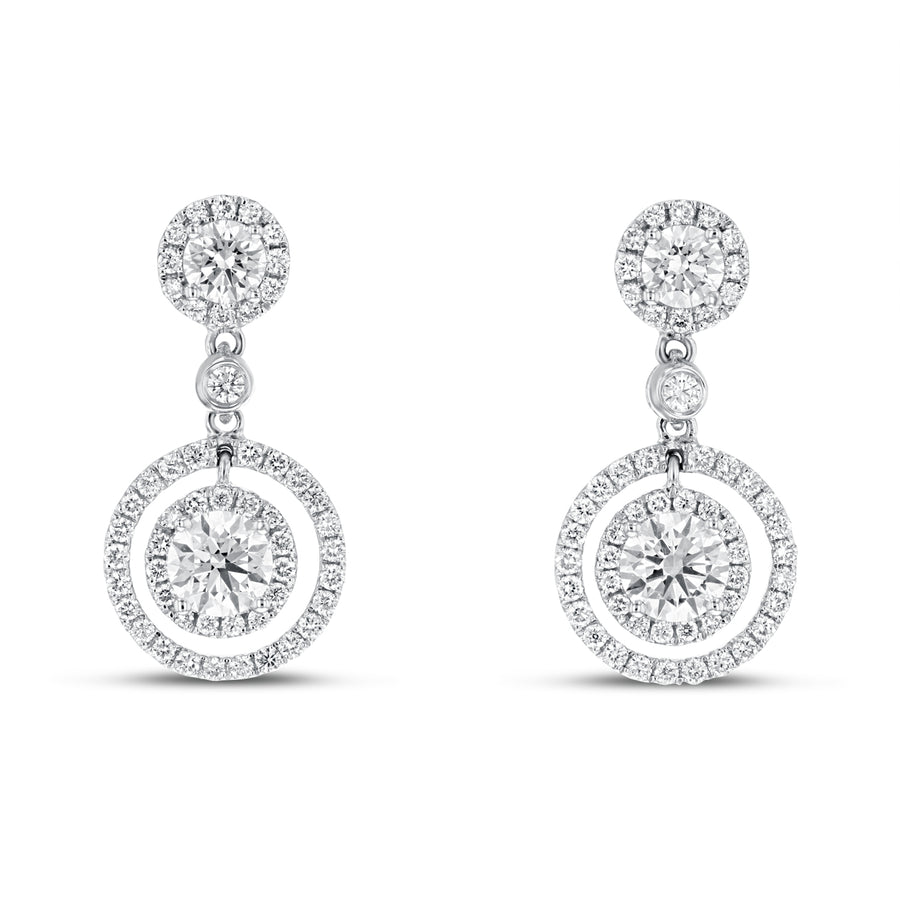 Double Halo Diamond Drop Earrings - R&R Jewelers