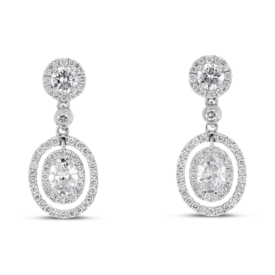 18K White Gold Diamond Earrings, 1.57 Carats - R&R Jewelers