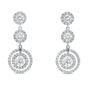 18K White Gold Diamond Earrings, 2.04 Carats