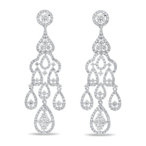 18K White Gold Diamond Chandelier Earrings, 3.25 Carats - R&R Jewelers