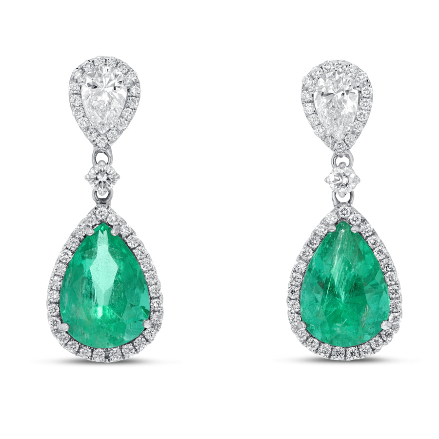18K White Gold Diamond and Gem Earrings, 5.33 Carats - R&R Jewelers