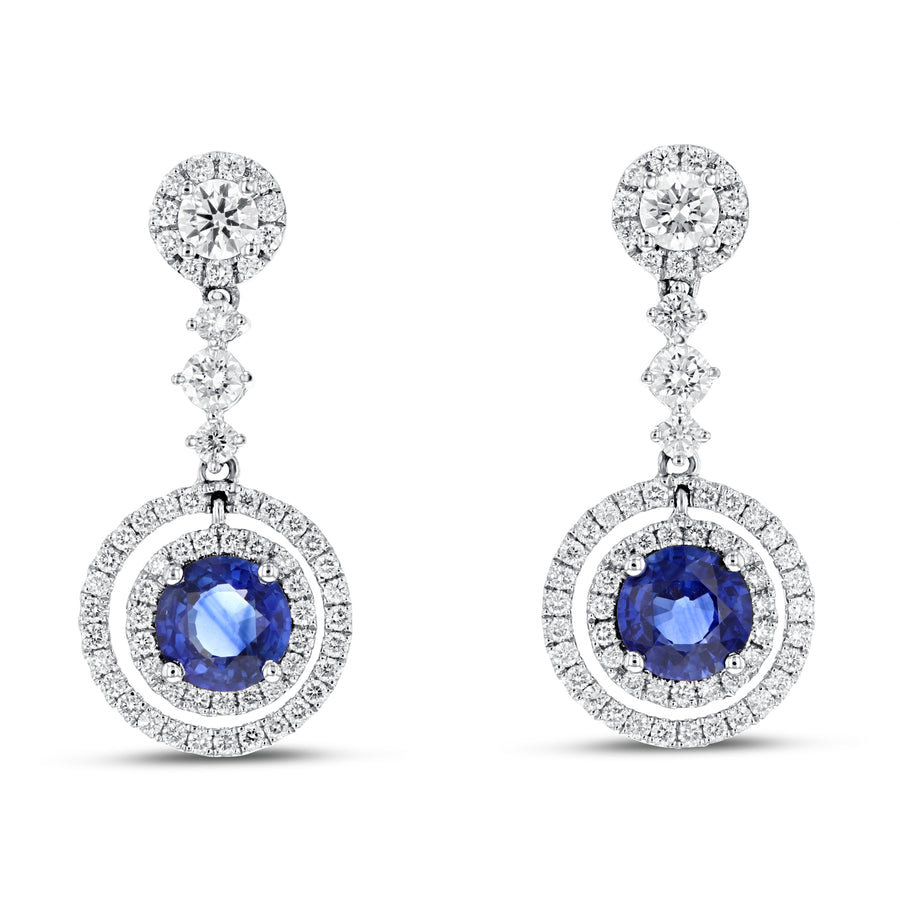 Round Halo Sapphire Drop Earrings - R&R Jewelers