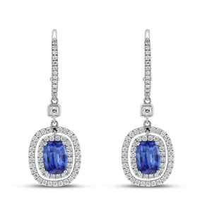 18K White Gold Sapphire and Diamond Earrings, 2.88 Carats