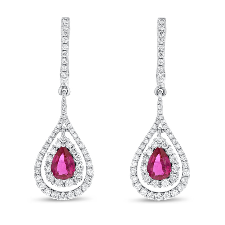 18K White Gold Diamond and Gem Earrings, 2.63 Carats