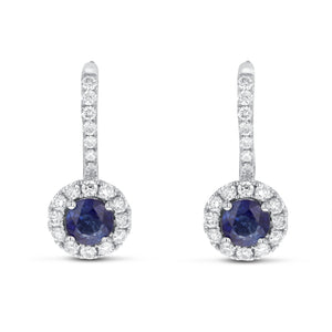 18K White Gold Sapphire and Diamond Earrings, 1.21 Carats