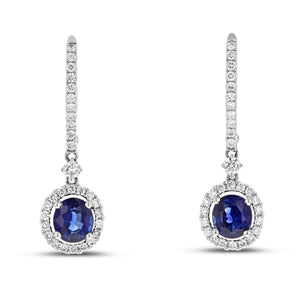 18K White Gold Diamond and Gem Earrings, 2.22 Carats