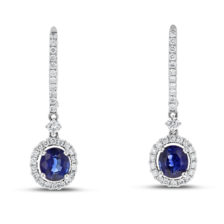 18K White Gold Sapphire and Diamond Earrings, 2.22 Carats