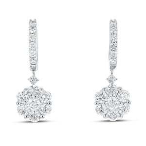 18K White Gold Diamond Earrings, 1.94 Carats - R&R Jewelers