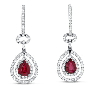 18K White Gold Diamond and Gem Earrings, 2.85 Carats - R&R Jewelers