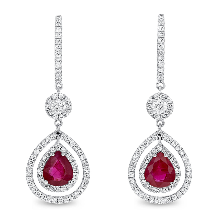 Pear Shape Ruby Drop Earrings - R&R Jewelers
