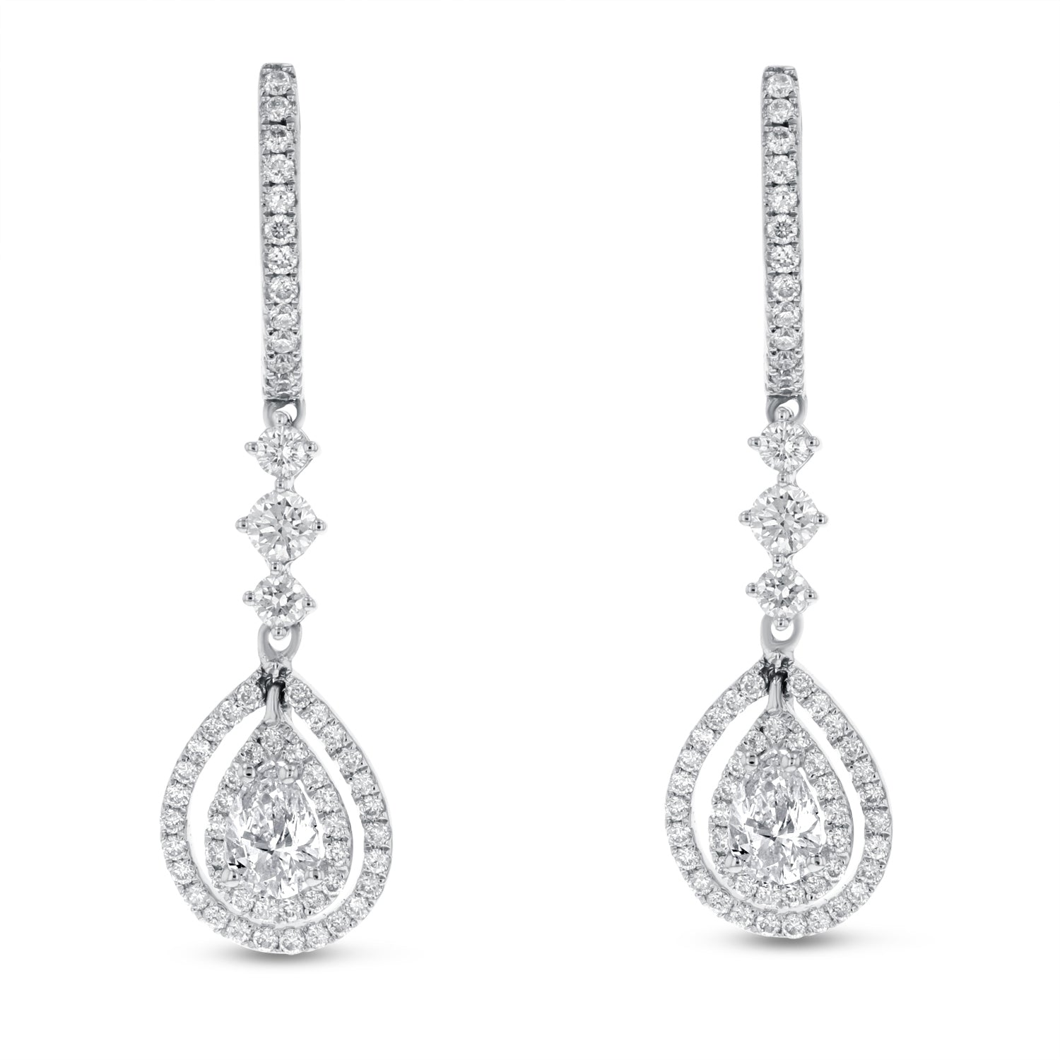18K White Gold Diamond Earrings, 1.41 Carats