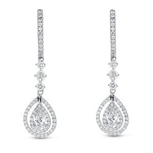18K White Gold Diamond Earrings, 1.41 Carats - R&R Jewelers